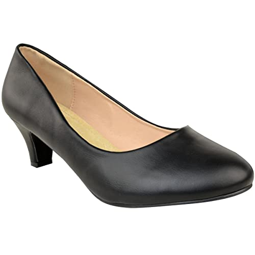 429bfa80e63 Fashion Thirsty Heelberry® Womens Ladies Large Plus Size Black Low Heel  Court Shoes Office Wedge Sandals UK  Amazon.co.uk  Shoes   Bags