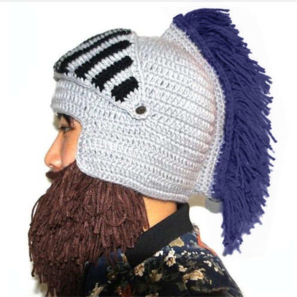 BIBITIME Cosplay Roman Knight Knitted Helmet with Beard Tassel Hat Visor Beanie Mask Winter Ski Sports Warmer Cap