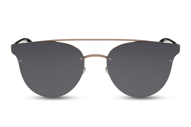 Cheapass Sonnenbrille Rund Cat-Eye Verspiegelt Flat-Mirror Metall Damen