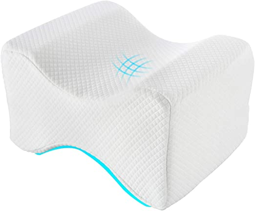 Leg Sciatic Nerve Pain Relief Knee Pillow Best for Pregnancy White, Standard Back /& Spine Alignment Memory Foam Wedge Leg Pillow with Washable Cover Knee