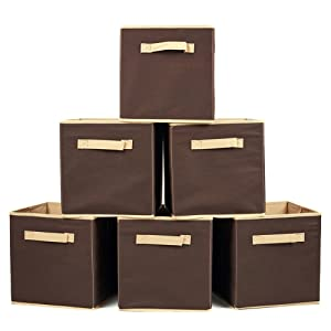 EZOWare Set of 6 Basket Bins Collapsible Storage Organizer Boxes Cube for Nursery Home - Hazelnut