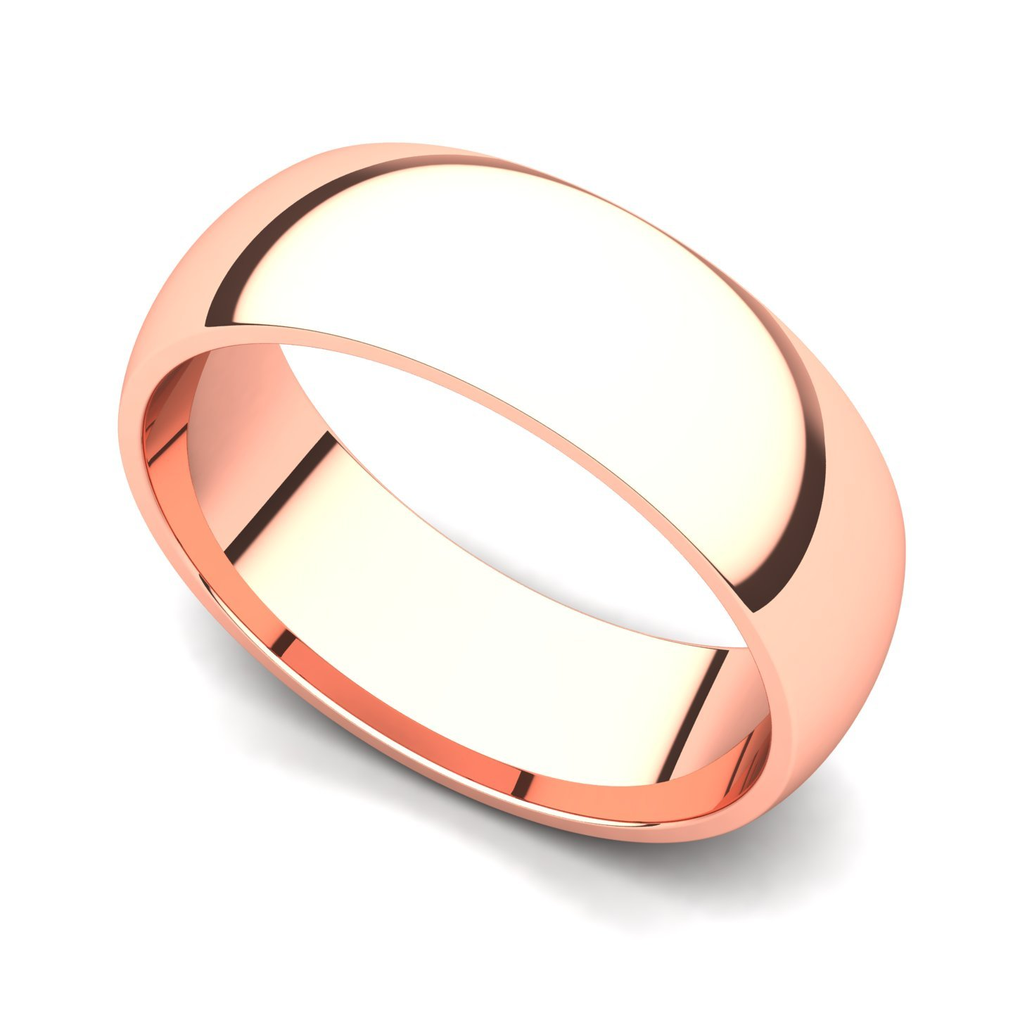 14k Rose Gold 6mm Classic Plain Comfort Fit Wedding Band Ring, 6.5