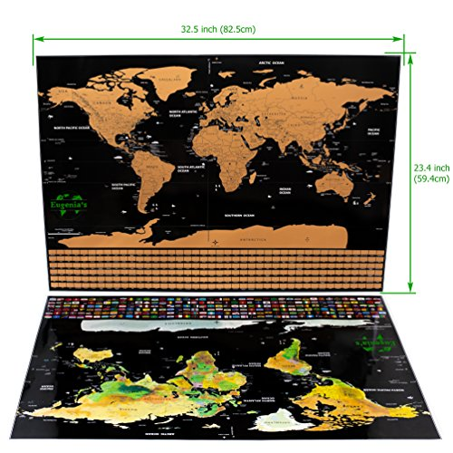 Scratch off World Map Poster with US States Outlined XLarge Size 32.5 x 23.4 inch.Scratch Travel Map Includes 252 Country Flags & Vibrant Colors.Travel Gifts Comes with a Complete Scratching Tools Set Photo #5