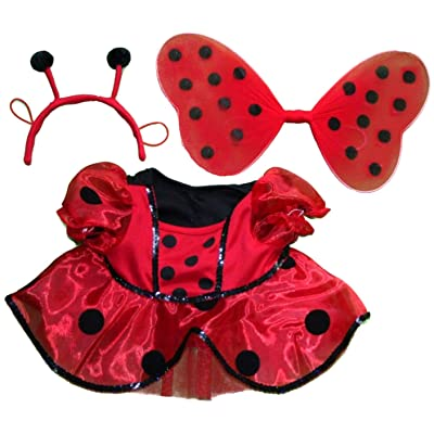 "Ladybug Costume with Wings Outfit Teddy Bear Clothes Fits Most 14"" - 18"" Build-a-bear and Make Your Own Stuffed Animals: Toys & Games"