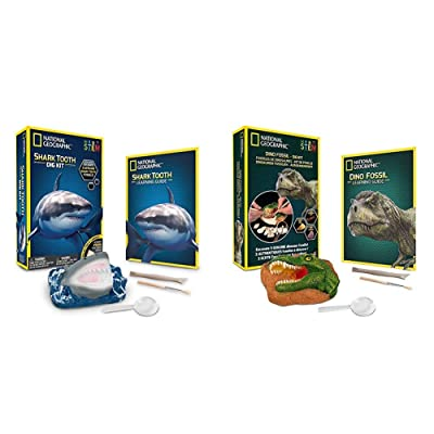 NATIONAL GEOGRAPHIC Shark Tooth Dig Kit - Excavate 3 Real Shark Tooth Fossils Including Sand Tiger & Dino Fossil Dig Kit – Excavate 3 Real Fossils Including Dinosaur Bones & Mosasaur Teeth: Toys & Games