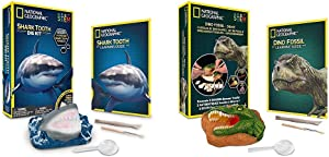 NATIONAL GEOGRAPHIC Shark Tooth Dig Kit - Excavate 3 Real Shark Tooth Fossils Including Sand Tiger & Dino Fossil Dig Kit – Excavate 3 Real Fossils Including Dinosaur Bones & Mosasaur Teeth