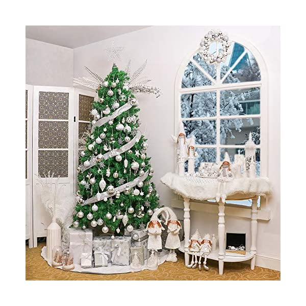 Victor's Workshop Addobbi Natalizi 24 Pezzi 6cm Palle di Natale, Frozen Winter Silver e White Shatterproof Christmas Ball Ornaments Decoration for Christmas Tree Decor 7 spesavip