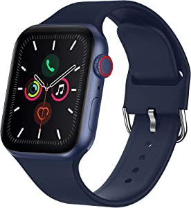 RARF Sport Bands Compatible with Apple Watch 38mm 40mm 42mm 44mm for Women Men, Soft Silicone Sport Replacement Strap Compatible with iWatch SE Series 6/5/4/3/2/1