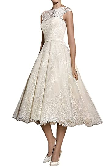 Lafee Bridal Women s Tea Length Lace Wedding Dresses Cap Sleeves Bridal Gown  Ivory Size 2 0217709ade