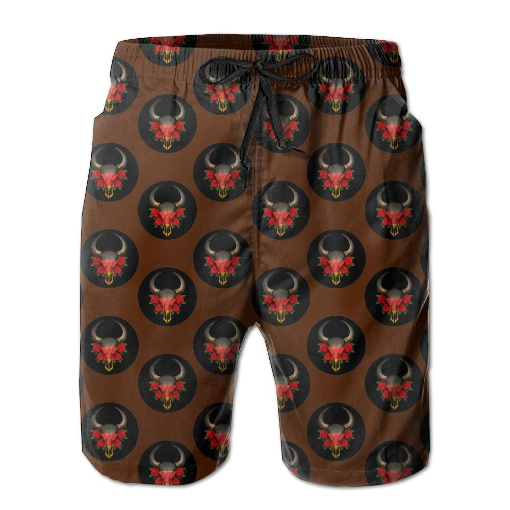 Mens German Flag Bull Skull With Red Roses Quick-Dry Lightweight Fashion Board Shorts Swim Trunks XL