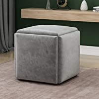 ALUA- Stackable Sofa Chair Stool Combination 5 in 1 Seating Cube Footstool - Breathable Suede Footrest Ottomans Home…