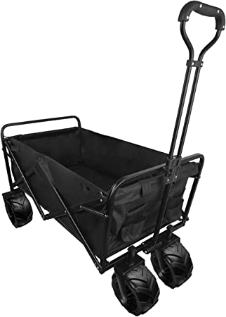 Black Folding Wagon,Cart Fully Folded Free Standing Outdoor Shopping Camping