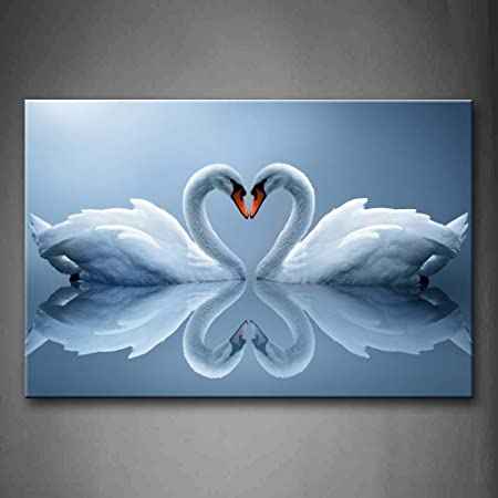First Wall Art – Two Swans Make Up A Heart Reflected On Water Wall Art Painting The Picture Print On Canvas Animal Pictures For Home Decor Decoration Gift