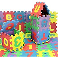 FunBlast 36pcs Mini Puzzle Foam Mat for Kids, Interlocking Learning Alphabet and Number Mat for Kids