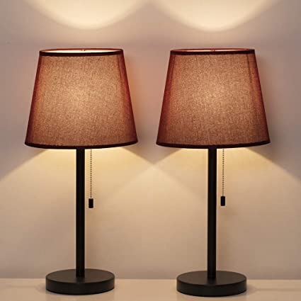 HAITRAL Bedside Table Lamp Set of 2 - Modern Nightstand Lamps with Red Wine  Lamp Shade, Pull Chain Switch Desk Lamps for Bedrooms, Office, Living Room  ...