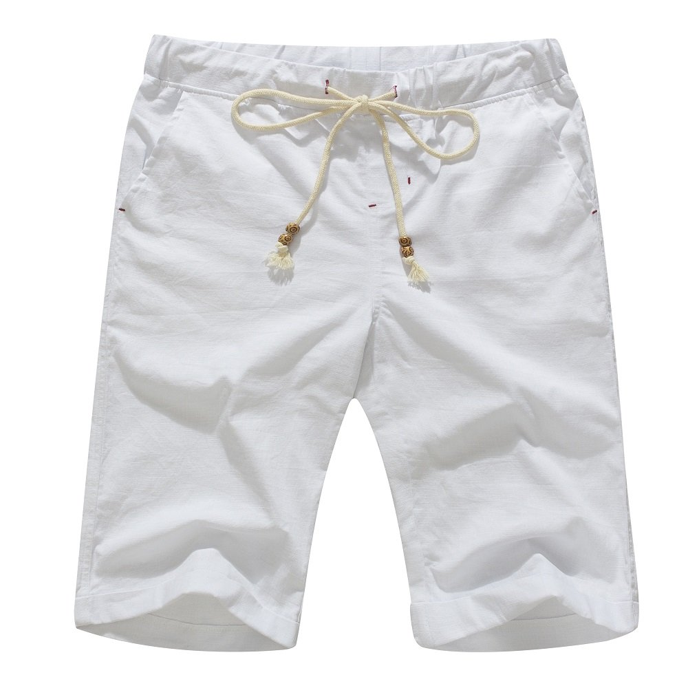 Janmid Men's Linen Casual Classic Fit Short White L