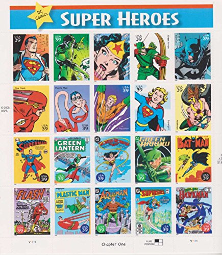 DC Comics Super Heroes, Full Sheet of 20 x 39-Cent Postage Stamps, USA 2006, Scott 4084 -