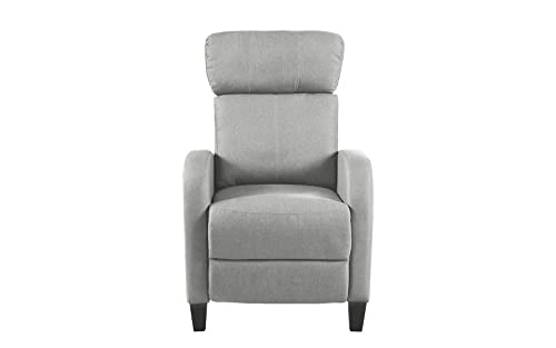 Living Room Slim Manual Recliner Chair Light Grey