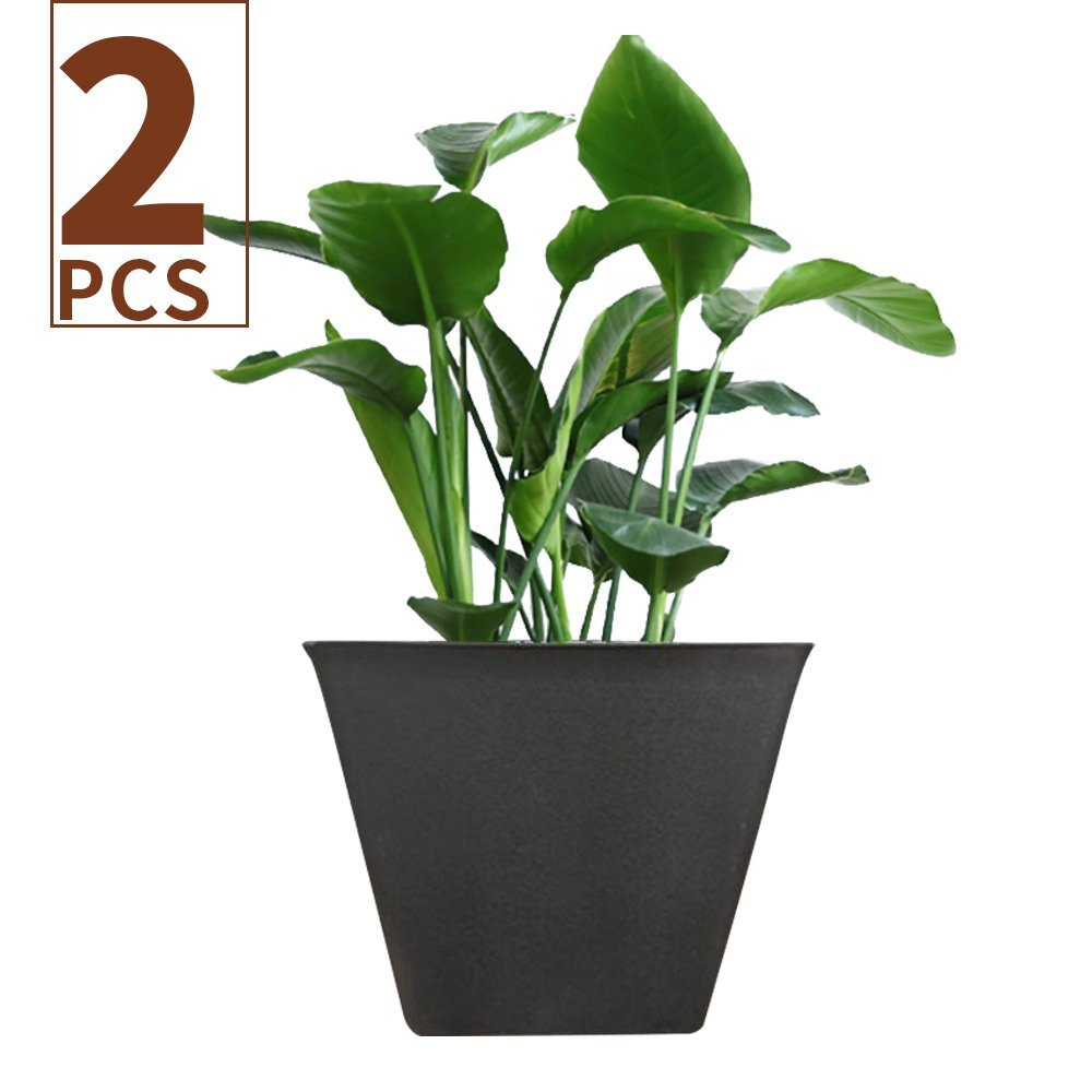 Flower Pot 14.6'' Large Resin Planters Set 2, Indoor Outdoor Garden Patio Planters, Black, Unbreakable