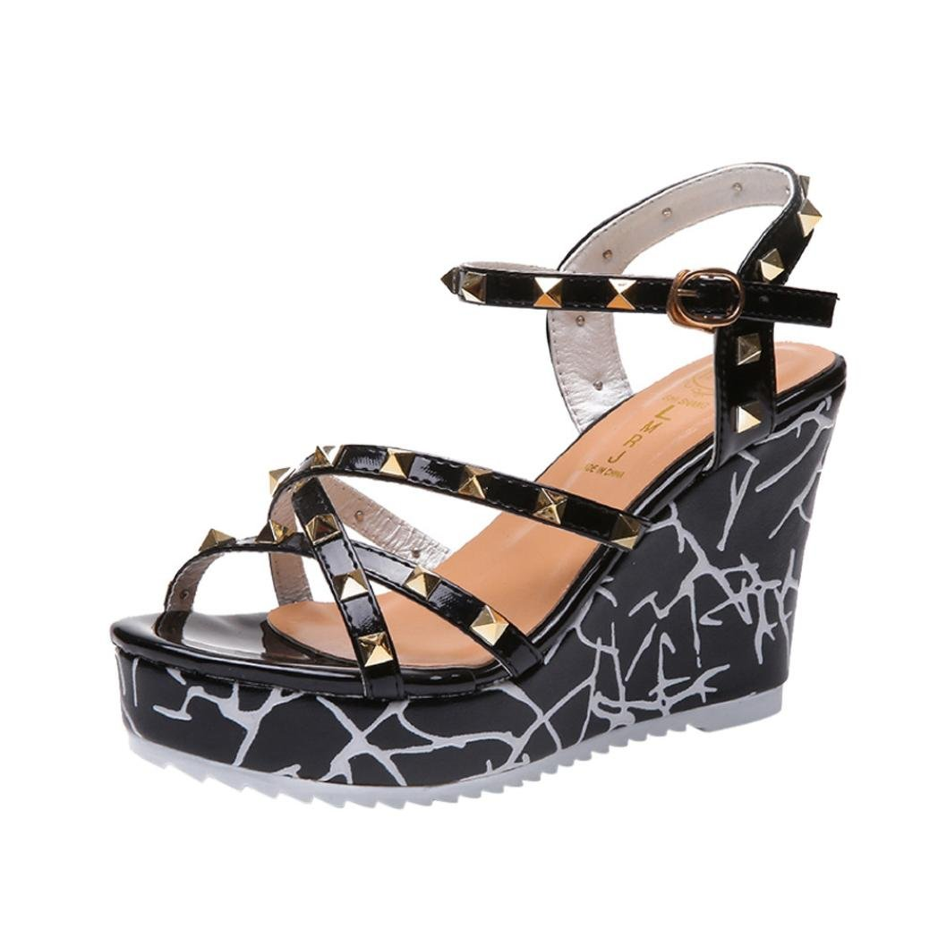 G&Kshop Wedge Sandals,Women Summer Platform Shoes Casual Rivets Decor Beach Sandal B07DDCXFZG 6B(M)US Black