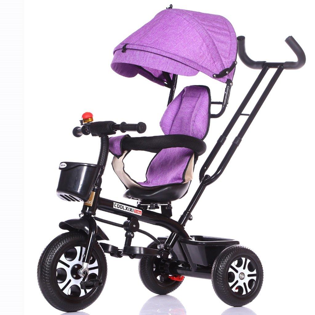 子供の三輪車1-5歳のベビーカーのベビーカーベビーカーの子供たちの自転車、パープル/ホワイトフレーム、パープル、ピンク、ブルー、ブルー/ホワイトフレーム、グレー ( Color : Purple ) B07C882SGF