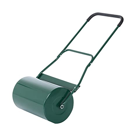 Outsunny 40L Lawn Roller Drum Scraper Bar Collapsible Handle Water or Sand  Filled Φ32cm Green