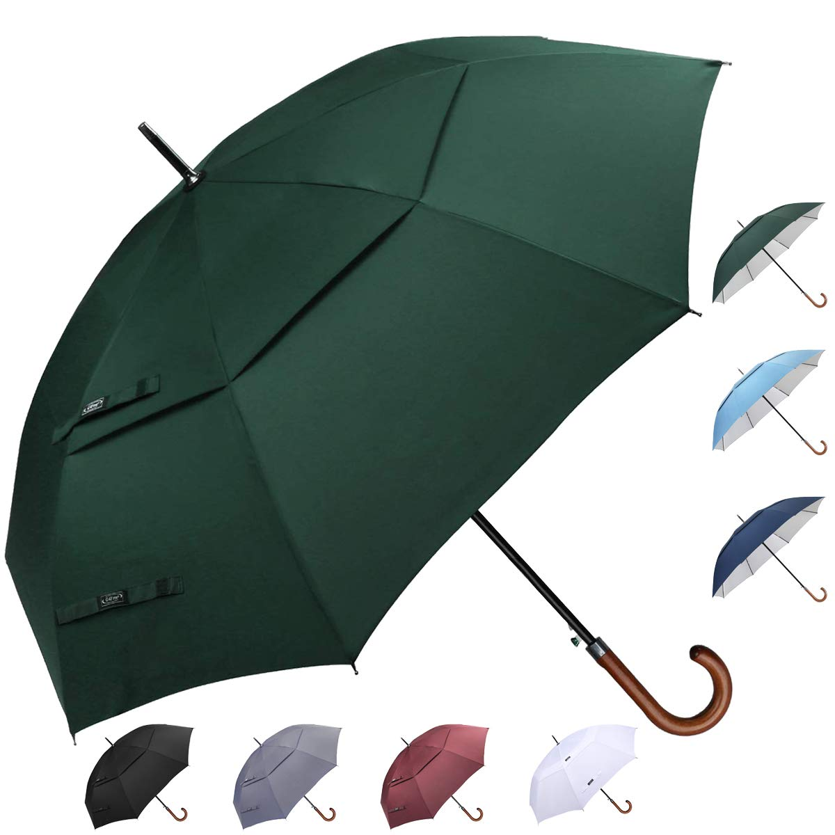G4Free Wooden J Handle Classic Golf Umbrella Windproof Auto Open 52 inch Large Oversized Double Canopy Vented Rainproof Cane Stick Umbrellas for Men Women (Dark Green) by G4Free