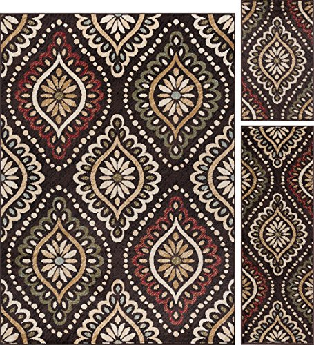 Brown Transitional Area Rug (Modesto Transitional Medallion Brown 3-Piece Area Rug Set, 3-Piece Set)