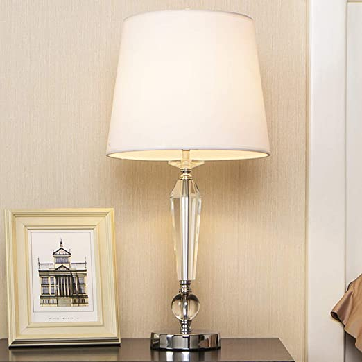 Popity Home Contemporary Bedroom Living Room Crystal Table Lamp,Bedside  Table Lamp with White Fabric Shade
