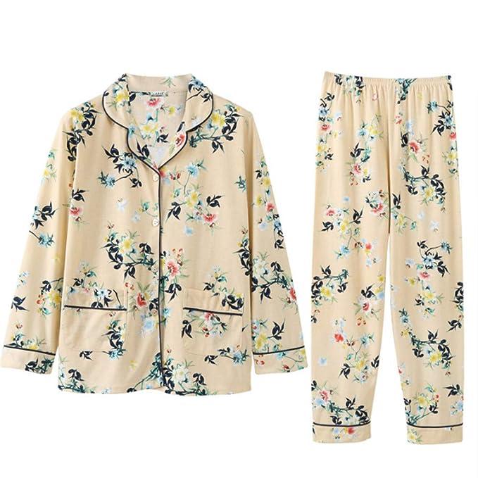 fefc04b6f4 Meaeo Pigiama in Cotone Autunnale Abbigliamento da Donna A Maniche Lunghe  Comfort Casual E Sciolto: Amazon.it: Abbigliamento