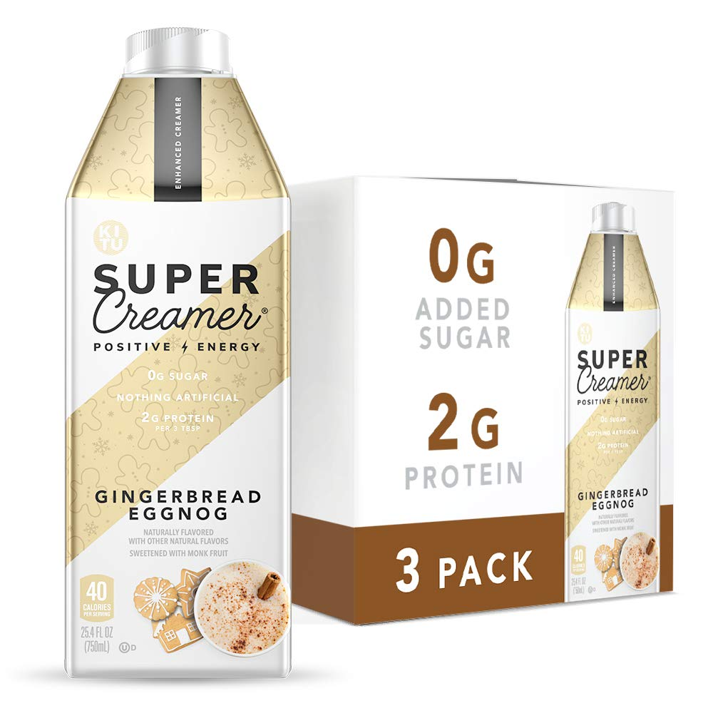 Kitu by SUNNIVA Gingerbread Eggnog Super Creamer with Protein and MCT Oil, Keto Approved, 0g Sugar, 3 g Protein, 50 Calories, 25.4oz (Pack of 3)