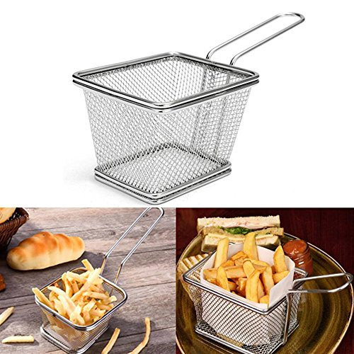 Basket Fry Chip Stainless Steel Mini-kitchen Home Fries Frying Potato Useful Strainer Serving Food Presentation Cooking Tool