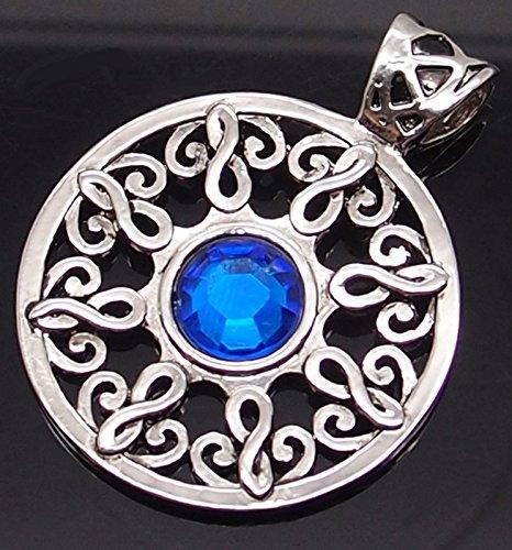 Amulett der Sonne mit einem Saphir Keltischer Sonnensaphir blauer Silbertonzinnanhänger mit 20-Zoll-Kette