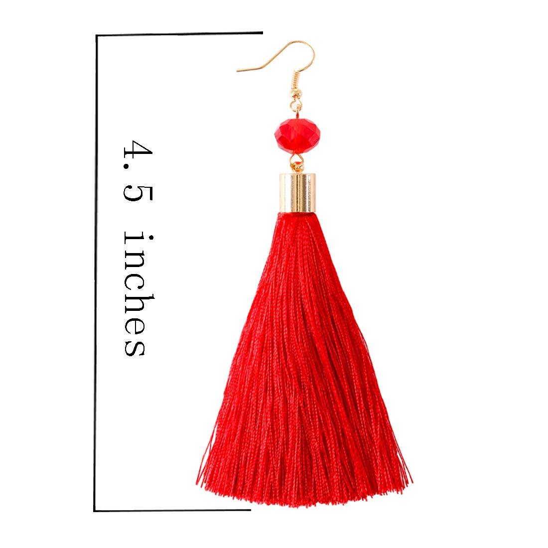 0c143f875 Amazon.com: NLCAC Long Tassel Drop Earrings Red Dangle with Ball Hook Fringe  Earring for Women's Fashion Jewelry: Jewelry
