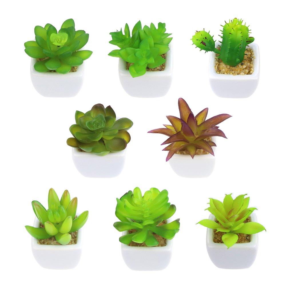 Outuxed 8 Artificial Succulent Potted Plants Mini Succulent Plants