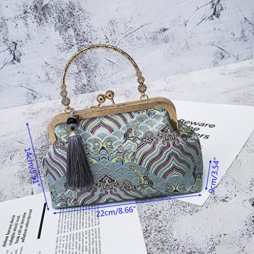 Handtasche Messenger Taschen Bag Geldbörse Für Senoow Big Blue Bag Frauen Party Quaste Stickerei Tote Nacht Hobo Ywg4qxRf
