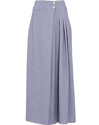 0c76b2448b54 EDZ Women's Julie Pleated Long A-line Modest Muslim Maxi Skirt Small Armor  Grey at Amazon Women's Clothing store: