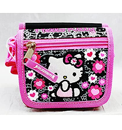 ab6891b11 Image Unavailable. Image not available for. Color: String Wallet - Hello  Kitty - Black ...