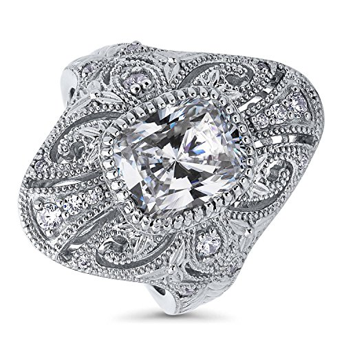 Art Deco Cocktail Rings - BERRICLE Rhodium Plated Sterling Silver Cubic Zirconia CZ Statement Art Deco Filigree Milgrain Cocktail Fashion Right Hand Ring Size 6
