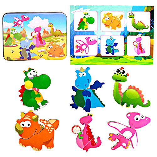 [Children Kids Box Wooden Magnetic Jigsaw Puzzle Intellectual Educational Toys (Dinosaur)] (Iron Fist Costumes For Kids)