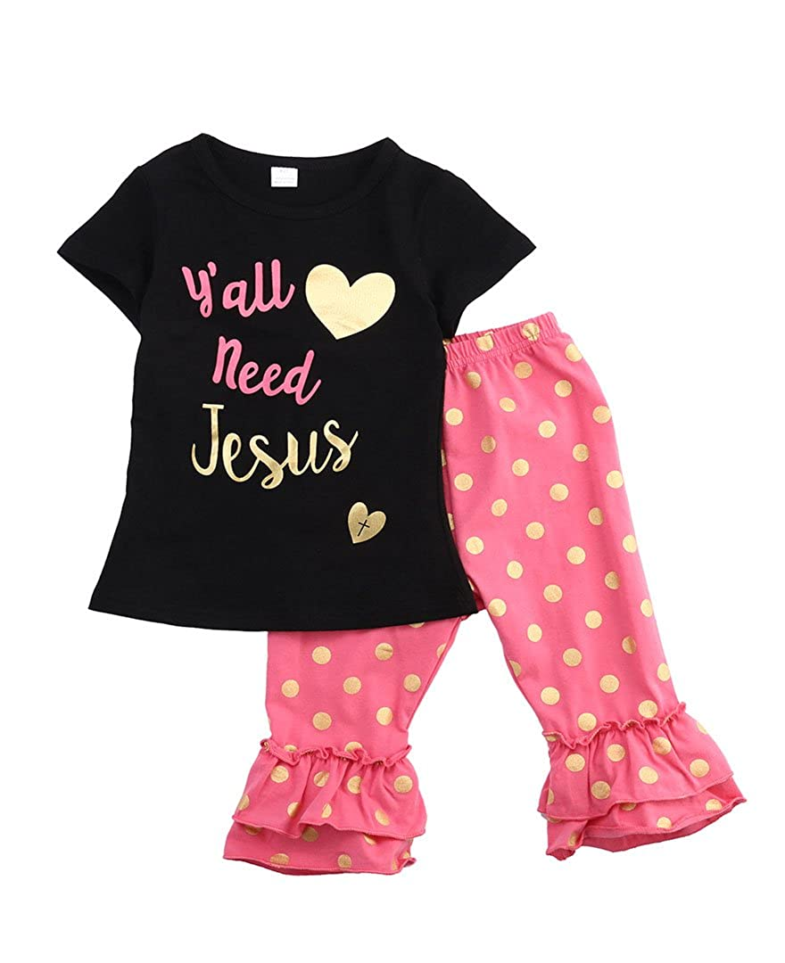 Amazon.com: Little Girl Jesus Printed Clothes Set Short Sleeve T ...