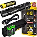 Nitecore MH10 CREE XM-L2 U2 LED 1000 Lumen USB Rechargeable Flashlight, 18650 rechargeable Li-ion battery, USB charging cable and Holster with 2 X EdisonBright CR123A lithium Batteries