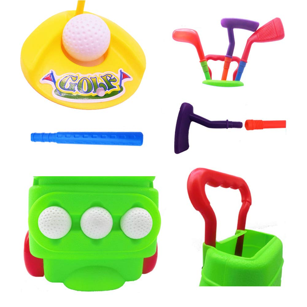 Siwo Toy Golf Set, Green One Toy Golf Cart, 3 Toy Golf Balls, 3 Clubs, 2 Practice Holes for Childern's Favor Toy