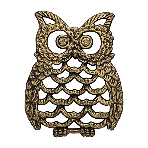 Cast Iron Owl Trivet - Decorative Trivet For Kitchen Counter or Dining Table Vintage, Golden, Artisan Design - 7.75X6