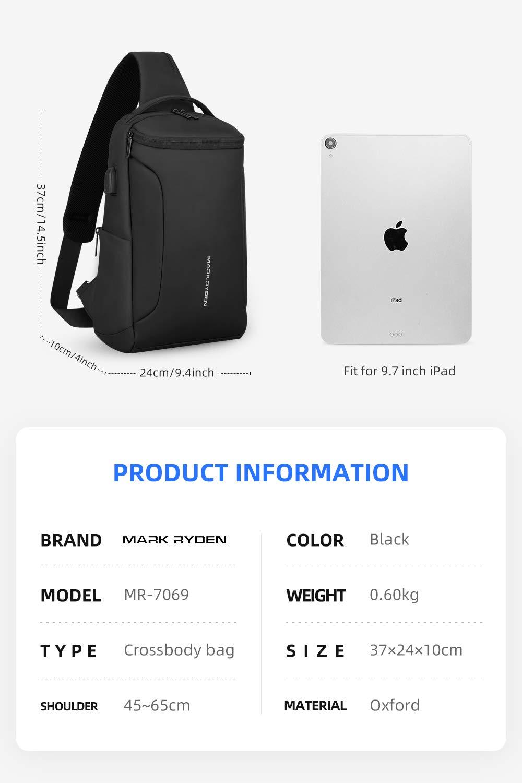 MARK RYDEN Bolso Bandolera Grande para Hombres en Forma de iPad ...