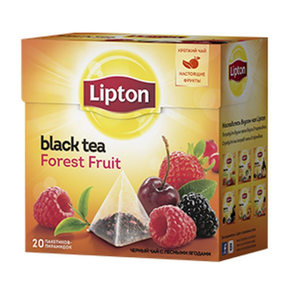 Lipton Black Tea - Forest Fruit - Premium Pyramid Tea Bags (20 Count Box) [Pack of 3] Imported
