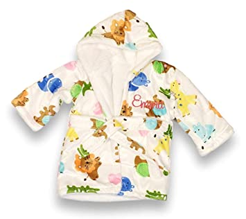 Personalized Extra Soft Plush Hooded Baby Bath Robe for Infants Toddlers  (0-9 Months 79124577e