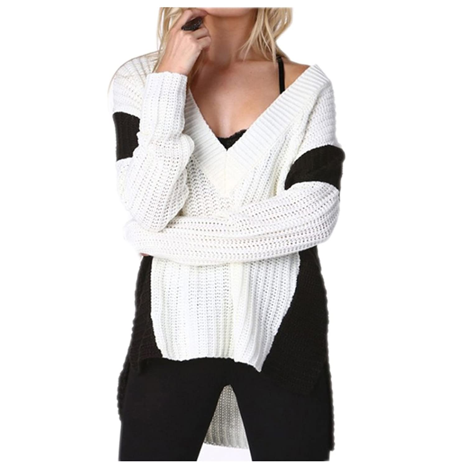 HAODUOYI Women Boy Friend Style Contrast Color Pullover V Neck High Low Sweater