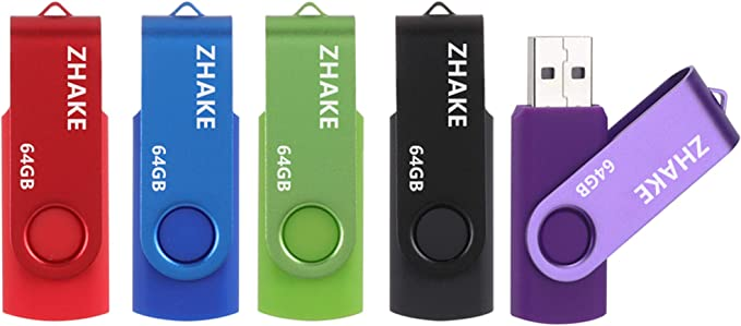 Imagen deMemorias USB 5 Piezas 64GB 2.0 USB Stick Flash Drive PenDrive con Indicado (64GB Verde Púrpura Rojo Negro Azul)