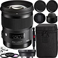 Sigma 50mm f/1.4 DG HSM Art Lens for Canon EF with MC-11 Mount Converter/Lens Adapter (Canon EF-Mount Lenses to Sony E) Bundle. Includes Manufacturer Accessories + 3PC Filter Kit (UV-CPL-FLD) + MORE